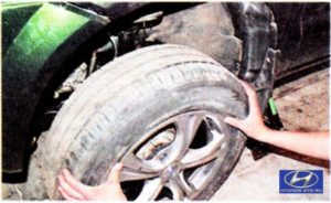 Tucson —  Ходовая часть —  Передняя подвеска —  Снятие и установка амортизаторной стойки передней подвески